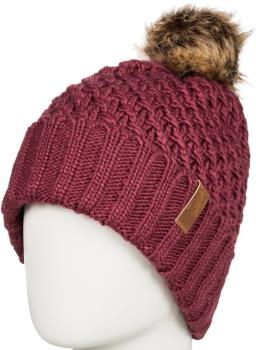 Roxy Blizzard Pom Pom Beanie Women's Bobble Knit Hat, Oxblood Red
