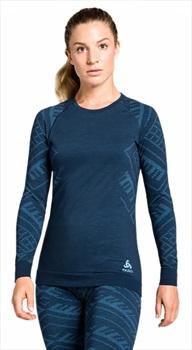 Odlo Crew Neck Natural + Kinship Warm Long Sleeve Top, L Blue/Teal