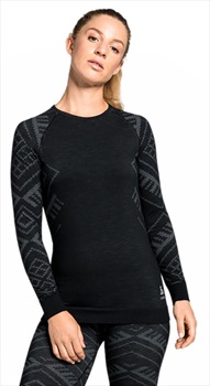 Odlo Crew Neck Natural + Kinship Warm Long Sleeve Top, L Black