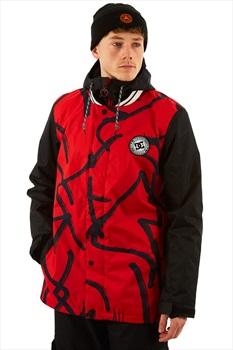 DC DCLA Ski/Snowboard Jacket, L Racing Red Hieroglyphic Print