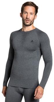 Odlo Performance Warm Long-Sleeve Baselayer, XL Grey Melange/Black