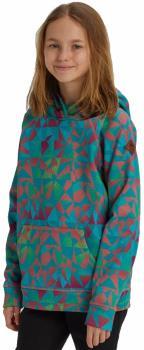 Burton Girl's Crown Bonded Pullover Hoodie, M Green/Blue Morse Geo