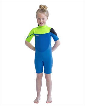 Jobe Boston 2mm Kids Shorty Wetsuit, Medium Blue Lime 2020