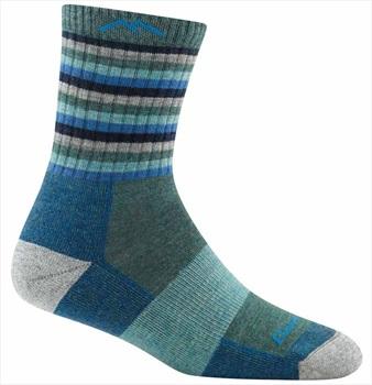Darn Tough Womens Stripes Micro Crew Midweight Women's Hiking Socks, L Aqua