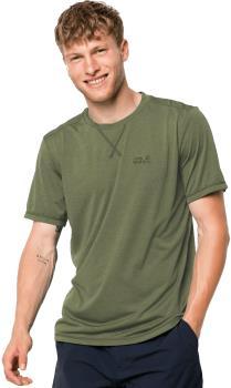 Jack Wolfskin Crosstrail Hiking Short Sleeve T-Shirt, S Light Moss