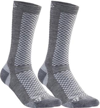 Craft Warm Mid 2-Pack Running Training Socks, UK 11-12 Granite