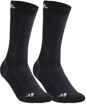 Craft Warm Mid 2-Pack Running Training Socks, UK 4-6 Black/White