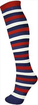 Manbi Pattern Ski/Snowboard Tube Socks UK 4-11 Mid Stripes Navy