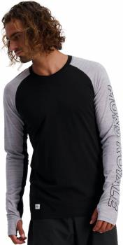 Mons Royale Temple Tech Long Sleeve Base Layer Top M Black/Grey Marl