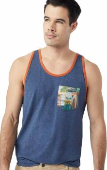 Tentree Scan Pocket Men's Tank Top Vest, S Dark Denim Navy/ Orange