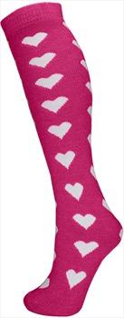 Manbi Pattern Ski/Snowboard Tube Socks UK 4-11 Hearts Raspberry