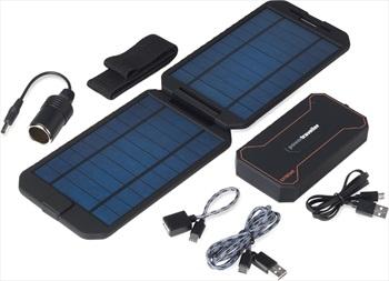 PowerTraveller Extreme Solar Kit Power Bank & Solar Charger, Black