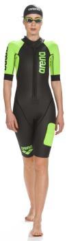 arena Neoprene Women's SwimRun Performance Wetsuit, L Black/Green