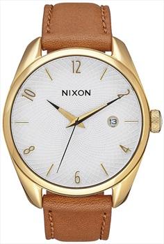 Nixon Bullet Leather Women's Wrist Watch Gold/Saddle