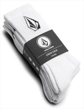 Volcom Adult Unisex Full Stone 3-Pack Crew Socks, One Size White
