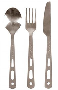 Lifeventure Titanium Cutlery Set Ultralight Camping Utensils, Grey