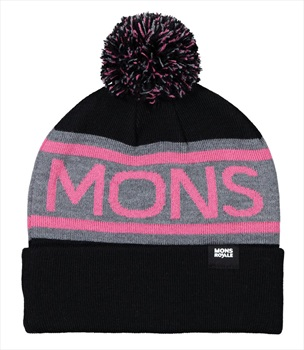 Mons Royale Adult Unisex Pom-Pom Beanie Bobble Hat, One Size Black/Pink