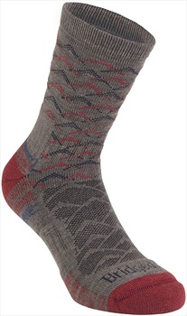 Bridgedale Hike Lightweight 3/4 Crew Men's Hiking Socks, L Brown/Red