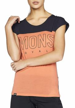 Mons Royale Phoenix Cap Women's Merino Wool T-Shirt, XS Coral/9 Iron