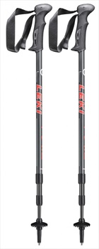 Leki Trail Adjustable Trekking Poles, 110-145cm Grey/Red
