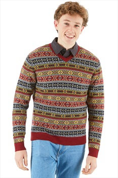 Amundsen Dunkirk V-Neck Merino Wool Sweater, L Ruby Red