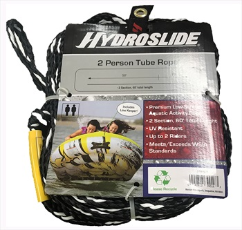 O'Brien Hydroslide 2 Person Towable Tube Rope, 2 Section Black White