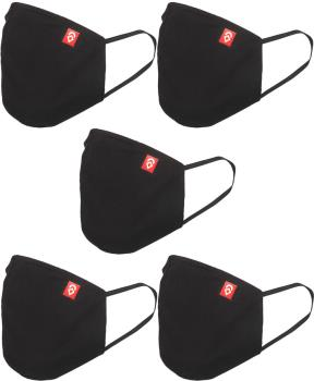 Airhole Adult Unisex Ergonomic 5 Pack Protective Reusable Face Mask, One Size Black