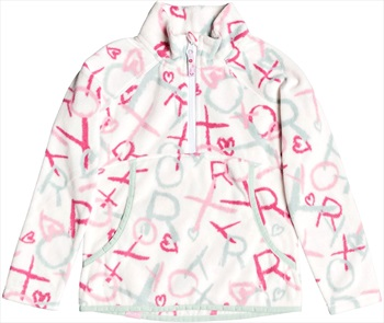 Roxy Cascade Girl's Half-Zip Fleece, 4/5 Yrs Bright White School