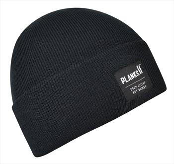 Planks Turn It Up Knitted Beanie Hat, One Size Black