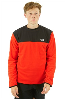 The North Face TKA Glacier Fleece Crew Pullover, M Fiery Red/Black