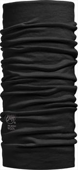 Buff Lightweight Merino Wool Neck Tube, One Size Solid Black