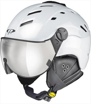 CP Camurai Silver Mirror Snowboard/Ski Visor Helmet, L Pearl White