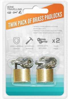 Gone Travelling 2-Pack Brass Padlocks, Gold