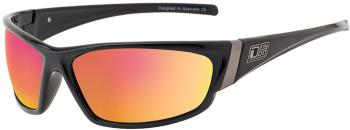 Dirty Dog Stoat Grey/Red Fusion Mirror Polarized Sunglasses, L Black