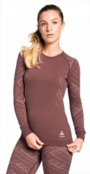 Odlo Crew Neck Natural + Kinship Warm Long Sleeve Top, L Roan Rouge