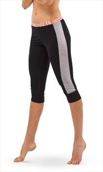 Mons Royale Alagna Women's Merino Wool 3/4 Leggings, S Black/Grey Marl