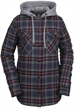 Volcom Hooded Flannel Jacket Insulated Midlayer S Navy