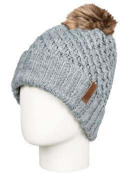 Roxy Blizzard Pom Pom Beanie Women's Bobble Knit Hat, Heather Grey