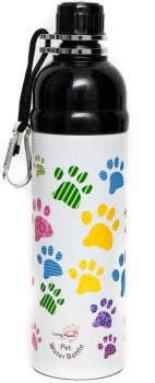 Long Paws Lick N Flow Stainless Steel Dog Water Bottle, 750ml Paws