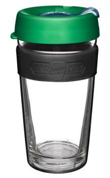 KeepCup Longplay Glass Reusable Tea/Coffee Cup, 454ml/16oz Elm