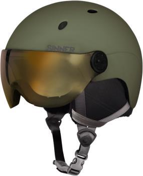 Sinner Titan Visor Gold Mirror Ski/Snowboard Helmet L Moss Green