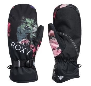 Roxy Jetty Women's Snowboard/Ski Mitts, M True Black Blooming