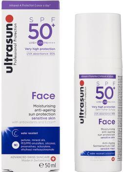 Ultrasun Face Sunscreen SPF 50+ Moisturiser Anti-Ageing Lotion, 50ml