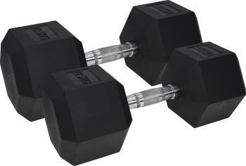 Urban Fitness Equipment Rubber Coated Pro Hex Dumbbells, 22.5KG Black