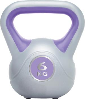 Urban Fitness Equipment Vinyl Kettlebell Weight, 6KG, Purple