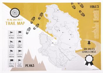 UK Trail Maps Peak District Trails Scratch-Off Wall Map