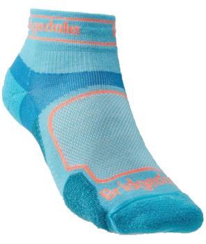 Bridgedale Ultralight T2 Sport Low Women's Trail Run Sock, L Blue