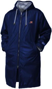 Zone3 Polar Fleece Parka Robe Jacket Changing Towel, XS Navy/Orange