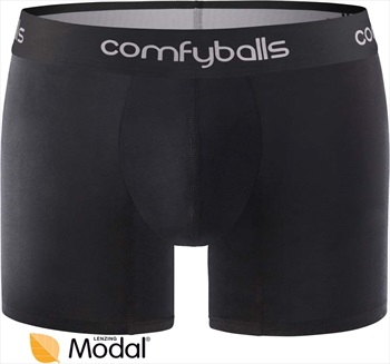 Comfyballs Mens Wood Long Boxer Brief Underwear, S Pitch Black