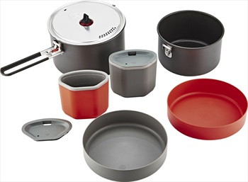 MSR Quick 2 System Cook Set Compact Camping Cookware, 2.5L Black & Red